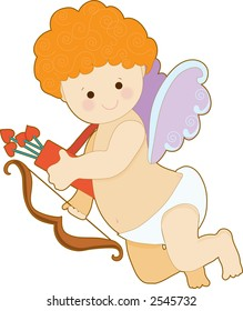 Little cupid on it's own with bow and arrow