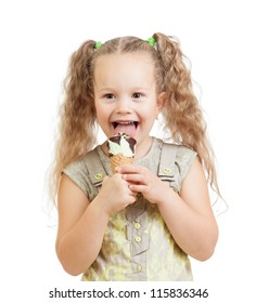 little curly girl eating ice cream in studio isolated