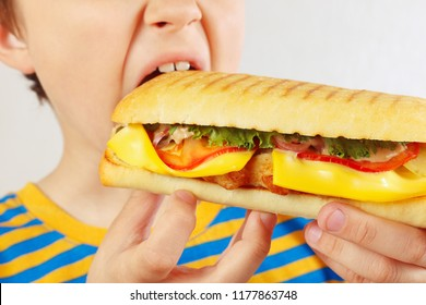 Little cut boy eating a tasty cheeseburger on a white background close up