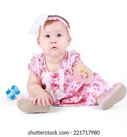 Little cute baby in pink dress