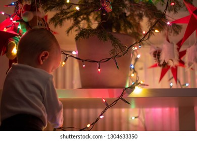 little cute babyboy holding the christmas lights and there is the bottom of the christmas tree with red stars in the background