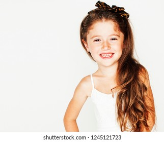 little cute beauty girl isolated on white background holding flo