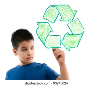Little cute boy drawing recycle sign on glass.