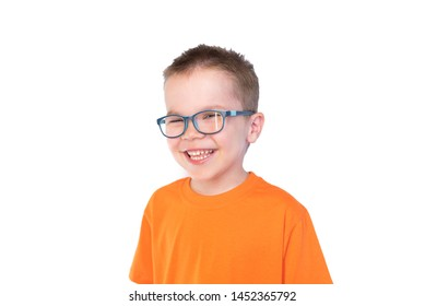 Little cute boy with glasses smiling isolated on white background