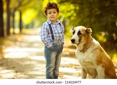 little cute boy playing with his dog in the autumn park