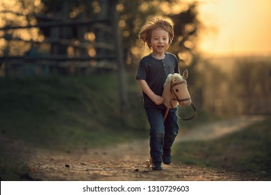 Little cute boy is playing with a toy stick horse in the country, Russia, Image with selective focus and toning