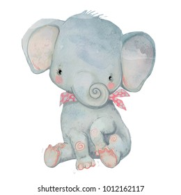 little cute cartoon pocket elephant - watercolor illustration