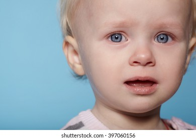 little cute child with tears on face