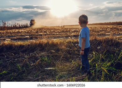 Little cute farmer boy standing on corn field and looking harvester. In background is harvester harvesting. Back lit.