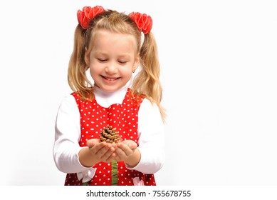 Little cute girl celebrates Christmas on white background