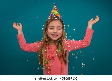 little cute girl celebratin new year party