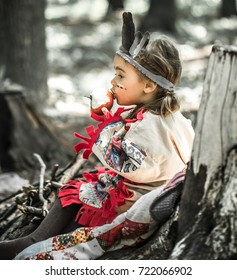 Little Cute Girl Costume American Indian Stock Photo Edit Now