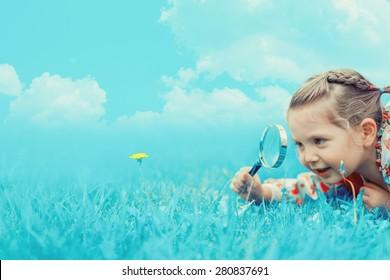 Little cute girl in fantasy world
