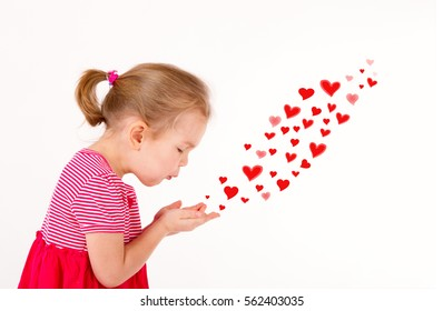 little cute girl a good 4 years, send a kiss - drawn hearts. love, valentine's day concept