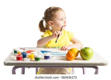 Little cute girl learning to painting, on white background