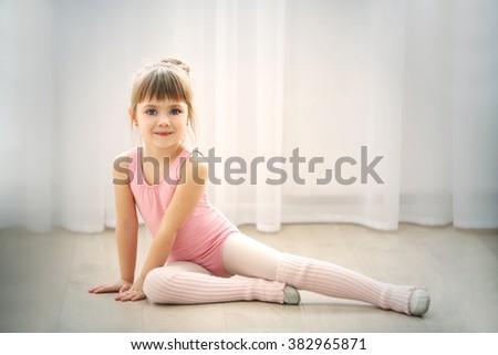 ebede7eb3e01 Little Cute Girl Pink Leotard Sitting Stock Photo (Edit Now ...