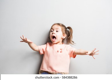 Little cute girl screaming or frightened, surprised