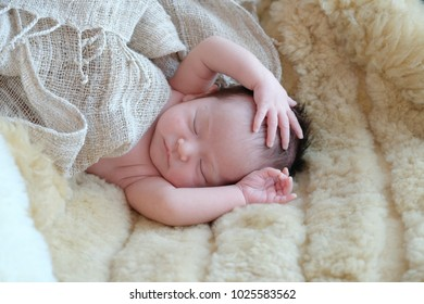 Little cute newborn baby is sleeping with tha brown doll on blanket, cute