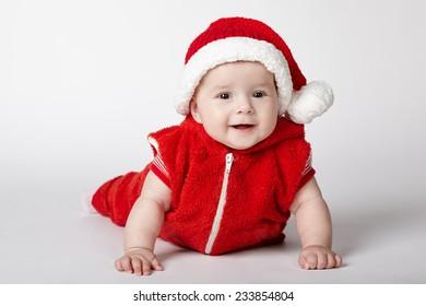 little cute santa portrait on white