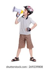 Little cyclist  shouting loud into the megaphone full length portrait