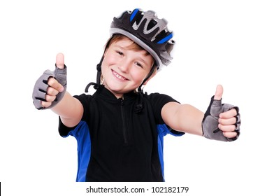 Little cyclist showing thumbs up