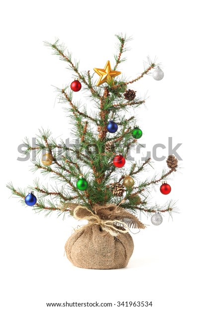Little decorated Christmas tree isolated on white