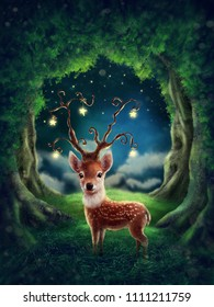 Little deer in a magic forest