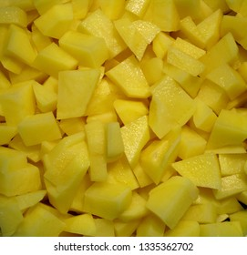 little dices of potatoes, texture and background of raw food