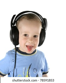 Little DJ sticking one's tongue out, on a white background