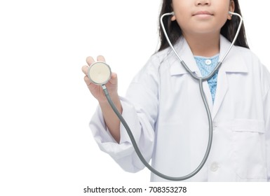 little doctor holding stethoscope isolated on white background, healthy care concept