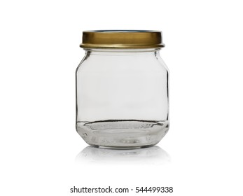 little empty glass jar with lid iron isolated on a white background