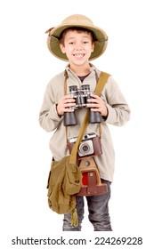 little explorer boy on safari isolated in white