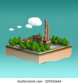 little factory with 2 chimneys surrounded by trees on small island with fluffy stylized clouds isolated on blue background. Infographic template 3 d rendering