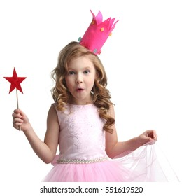 Little fairy girl in pink dress and crown with magic wand isolated on white  background 77c4218e8cef