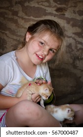 little farm girl plays with new kittens in the family barn