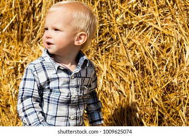 little fashionable boy in the background of a haystack