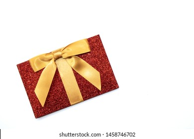 Little Festive Red Glitter Parcel Present with Gold Bow Gift