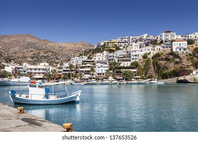Little fishing boat in Agia Galini on Crete Island (Greece)