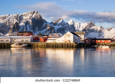 Little fishing village Hamnoy and Sakrisoy on Lofoten (Norway) seen during a beautiful sunrise in winter