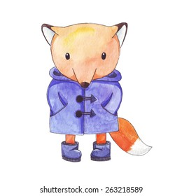 Little fox in a raincoat and wellington boots