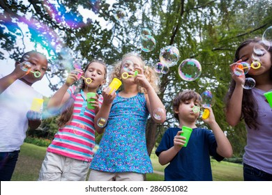 Little friends blowing bubbles in park on a sunny day