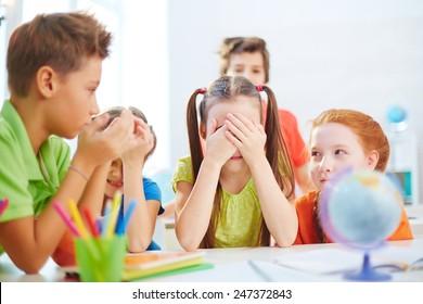 Little friends playing during school break