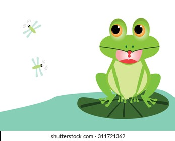 Little frog illustration of a cute little frog look at the insect