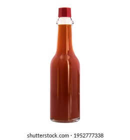 little full liquid red hot spicy sauce no label shiny brilliant transparent bottle red plastic cap mexican origin glass container for restaurants retail and little business piquant tangy peppery tasty