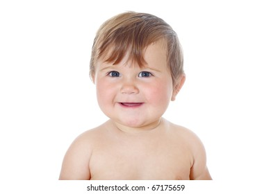 little funny baby girl on white background