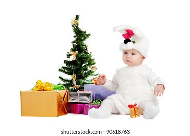 little funny baby in rabbit costume