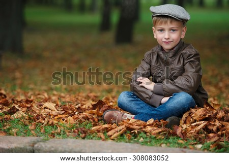 little funny boy in autumn leaves outdoor portrait