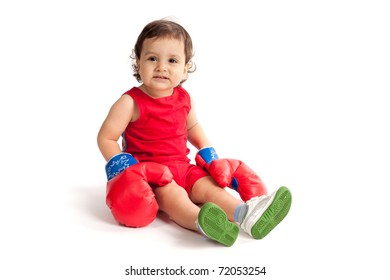 little funny boy with boxing gloves isolated