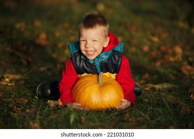 little funny boy with pumpkins in the garden