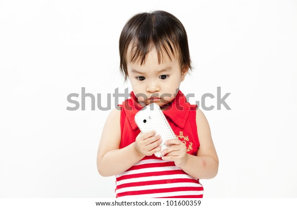 little funny curly girl with mobile phone